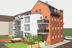 Entwurf - Umbau und Sanierung innerstädtischer Wohnbebauung zur altersgerechten Wohnanlage in Aue - 18 WE (2012-14, Leistungsphase 1-5)